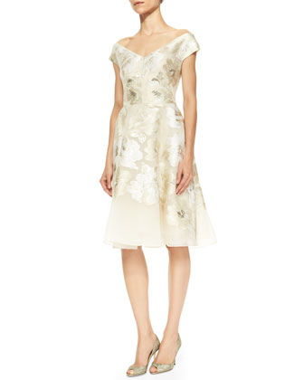 Off-Shoulder V-Neck Metallic Floral Dress, Ivory