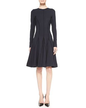 Long-Sleeve Stitched Godet Dress