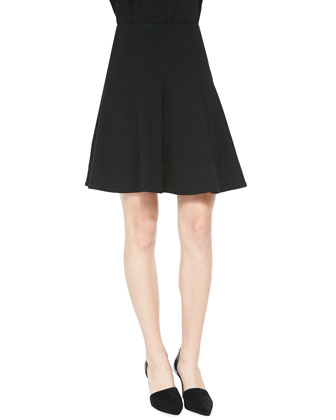 Seamed A-Line Skirt, Black