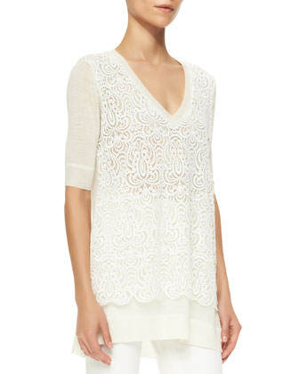 Lace-Overlay Tunic Sweater, Ivory