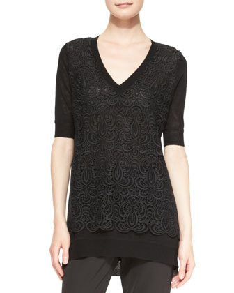 Lace-Overlay Tunic Sweater, Black