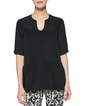 Short-Sleeve Silk Peplum Blouse, Black