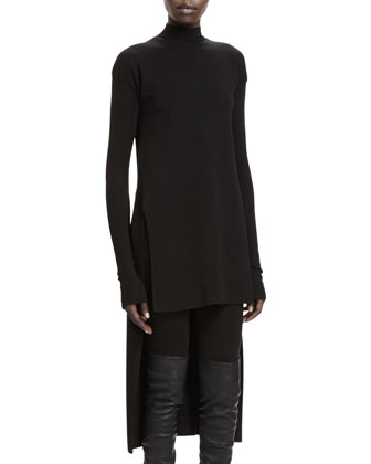 Calla Long-Sleeve High-Low Sweater, Black