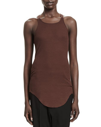 Butterfly Wool Cropped Cardigan & Basic Ribbed-Jersey Tank Top