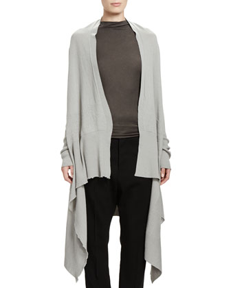 Long-Sleeve Wrapped Long Cardigan & Slub Jersey Sleeveless T-Shirt