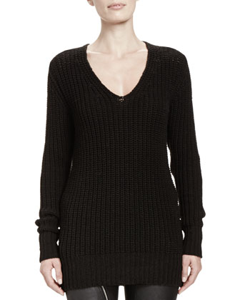 Maglia Wool V-Neck Long Sweater
