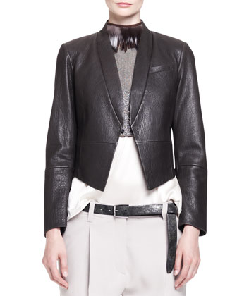Pebbled Leather Tux Jacket with Cropped Pockets, Sleeveless Cropped Monili ...