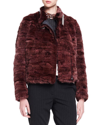 Monili-Collar Striped Mink Fur Jacket, Long-Sleeve Suspender-Effect Blouse, ...