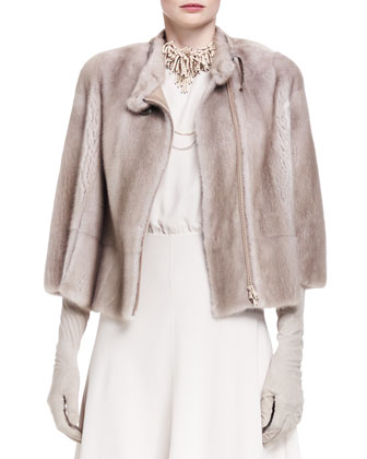 Bracelet-Sleeve Mink Fur Jacket