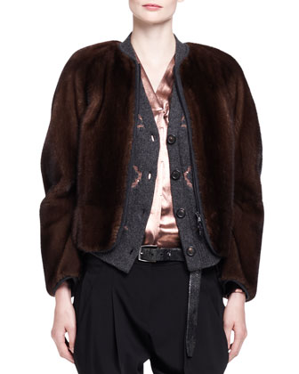 Jersey-Trim Mink Fur Zip Jacket