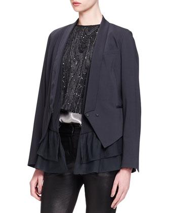 Silk-Ruffle Crepe Jacket