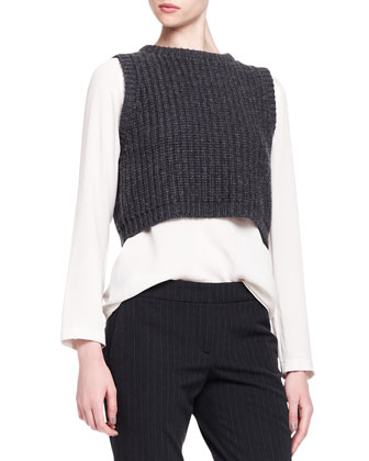 Sleeveless Cropped Knit Pullover