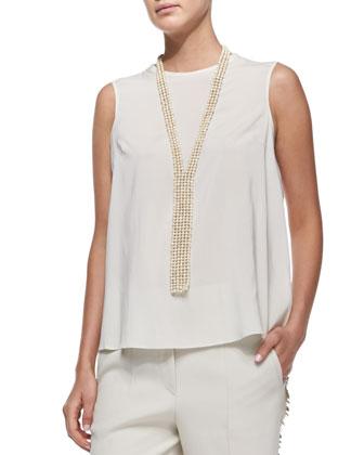 Suede Jacket with Silk Vest, Tiered-Back Blouse, Paillette-Stripe Pants, ...