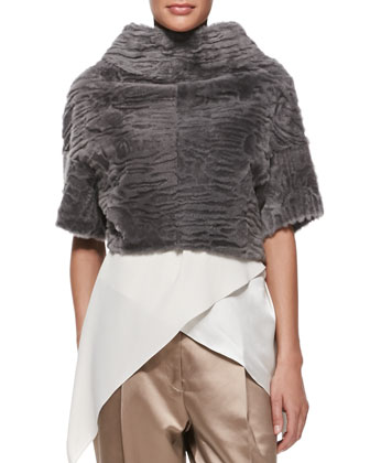 Marbled Shearling Fur Crop Jacket, Satin Crisscross Tank, Pleated Satin ...