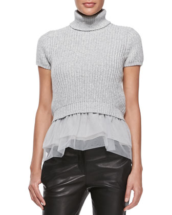 Short-Sleeve Cashmere and Tulle Top