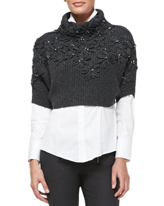 Leather Zip Jacket, Embroidered Cropped Sweater, Monili-Trim Tuxedo Blouse ...