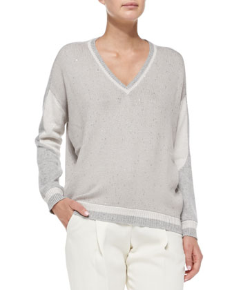 Varsity V-Neck Paillette Sweater
