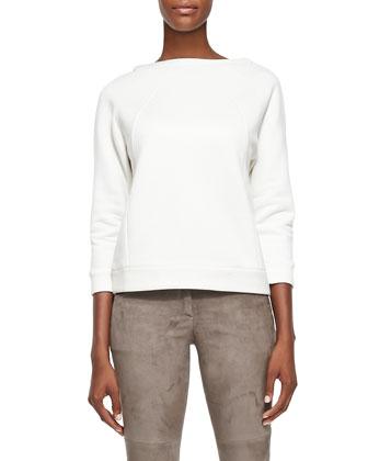 Bracelet-Sleeve Knit Sweatshirt