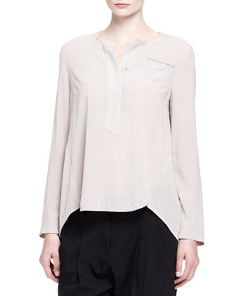 Monili-Trim Silk Henley Top