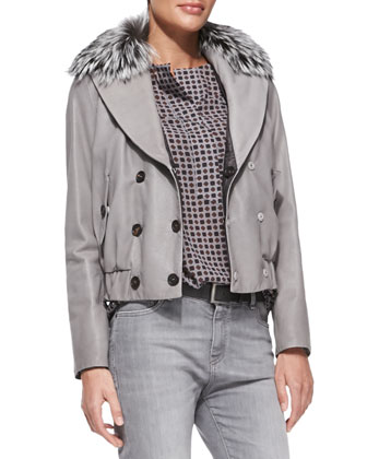 Reversible Leather Bomber Jacket with Fur Collar, Foulard-Print Henley ...