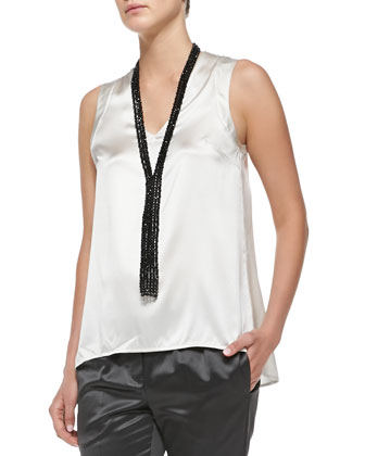 V-Neck Satin Tank Top