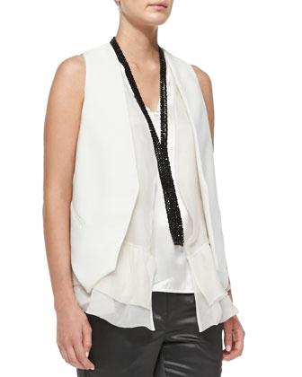 Two-Button Patch-Pocket Blazer, Crepe Gilet with Organza Underlay, V-Neck ...