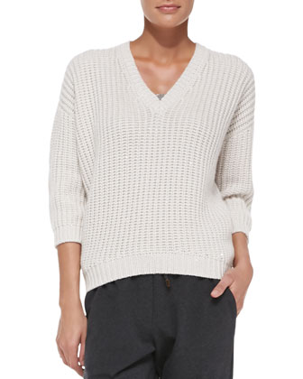 Monili-Trim Knit Paillette Sweater