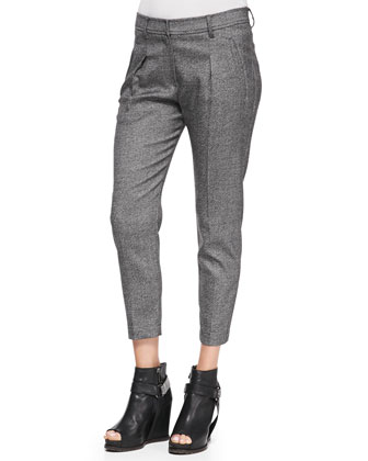 Slim Pleated Donegal Pants