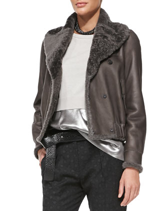 Reversible Leather/Fur Bomber Jacket, Cropped Cashmere Pullover, Sleeveless ...