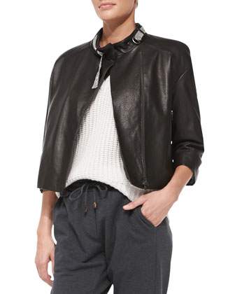 Monili-Collar Leather Jacket, Monili-Trim Knit Paillette Sweater, Monili ...