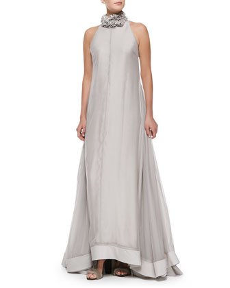Sleeveless Satin Full-Skirt Gown, Dove