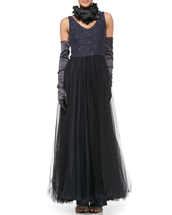 Paillette-Bodice Tulle Gown, Silk Petal Collar & Satin Evening Gloves