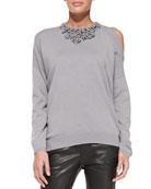 Embellished Cold-Shoulder Cashmere Sweater
