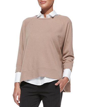 Cashmere Monili-Trim Swing Sweater