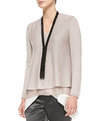 V-Neck Paillette Sweater with Silk Underlay