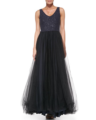 Sleeveless Paillette-Bodice Tulle Gown