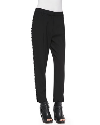 Pleated Paillette-Stripe Tuxedo Pants