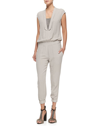 Cap-Sleeve Monili-Inset Jumpsuit