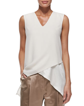 Sleeveless Satin Crisscross Tank