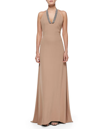 Monili-Collar Long Halter Dress