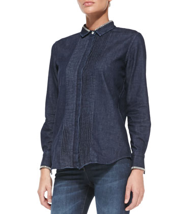 Denim Monili-Trim Tuxedo Blouse