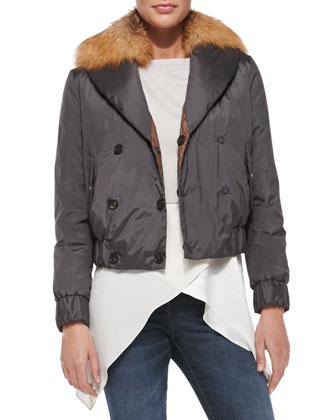 Reversible Fur-Collar Bomber Jacket, Cropped Pullover, Satin Crisscross ...