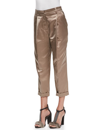 Pleated Satin Cuffed Pants