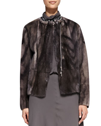 Mink Fur Marbled Jacket