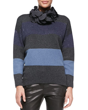 Blooming Stripes Cashmere Sweater with Detachable Collar