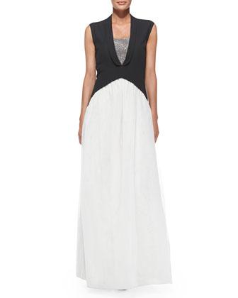 Sleeveless Tuxedo-Tails Silk Gown