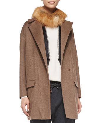 Coat with Fox Fur Collar, Long-Sleeve Silk Top & Monili-Trim Vest