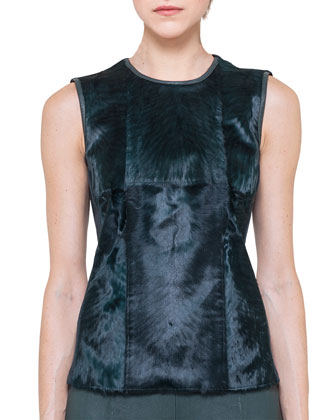 Sleeveless Fur-Front Top