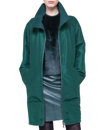 Reversible Silk and Cashmere Parka, Sleeveless Fur-Front Top & Slim Stretch ...