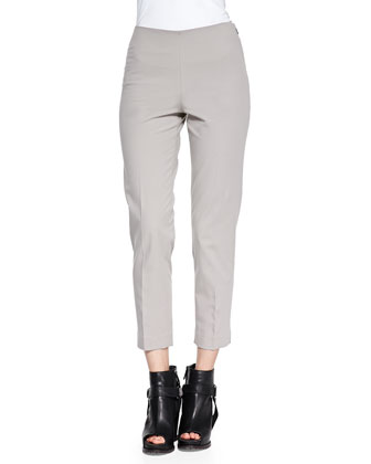 Stretch Cotton Ankle Pants